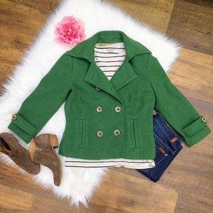 CAbi Green Wool Blend Cropped Pea Coat